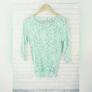 Forever 21 Mint Green Lace Top